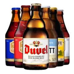 比利时进口智美红帽蓝帽督威白熊舒弗啤酒组合330ml*6