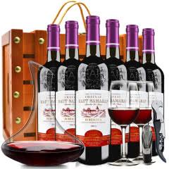 法国原瓶原装进口红酒波尔多产区AOC级浮雕艺术瓶干红葡萄酒13度750ml*6(铆钉木箱)