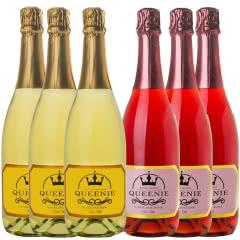 皇冠QUEENIE香槟起泡酒甜型气泡酒红酒甜酒 葡萄味+蓝莓味 750ml(3瓶+3瓶)
