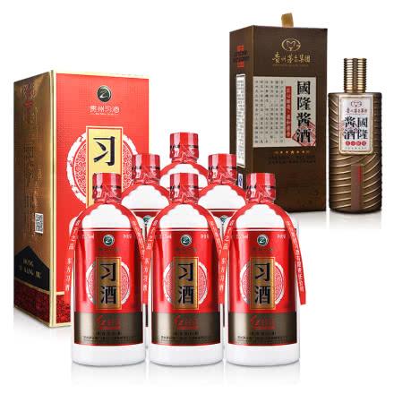 53°习酒红习酱500ml(6瓶装)+53°贵州茅台酒厂(集团)技术开发公司国隆酱酒500ml(2016-2017)
