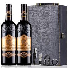 法国原瓶进口红酒波尔多AOC法定产区狮堡橡木桶干红葡萄酒雕花重型瓶750ml*2(礼盒装)