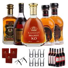 派斯顿白兰地XO洋酒十一瓶套餐 威士忌红酒葡萄酒套餐组合装 送子弹杯