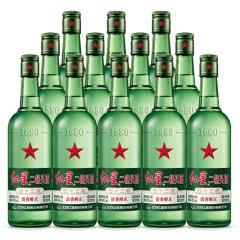 43°红星二锅头绿瓶大二清香型白酒500ml(12瓶)白酒整箱