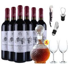 法国原进口红酒玛雅古堡整箱装750ML干红葡萄酒+醒酒器