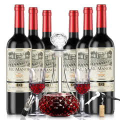 法国进口红酒穆歌庄园原酒进口黑皮诺干红葡萄酒750ml*6(酒具套装)