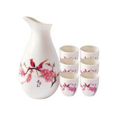 陶瓷白酒杯酒具桃花礼盒装