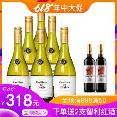 红魔鬼葡萄酒 智利原装原瓶进口红酒六支装 霞多丽 白葡萄酒 750ml(6瓶装)