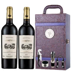 法国原瓶进口13.5度AOC级博维干红葡萄酒红酒礼盒凤尾礼盒装750ml*2