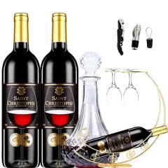 法国红酒(原瓶进口)波尔多AOC法定产区圣斯塔菲干红葡萄酒750ml*2(酒具套装)