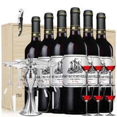 法国原瓶原装进口红酒帕特龙船干红葡萄酒套装商务宴请6支木箱礼盒装