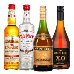 进口洋酒组合套餐 朗姆酒+威士忌+白兰地+XO白兰地 700mL*4瓶烈酒