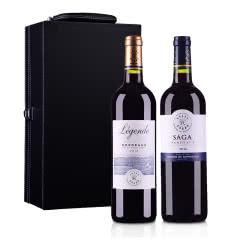 【随时随意波尔多】法国拉菲传奇传说2016波尔多法定产区红葡萄酒750ml(双支礼盒套装)