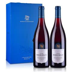 【红酒礼盒】法国光之颂亿盛镜系列勃艮第红葡萄酒750ml*2双支礼盒