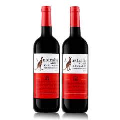 澳洲原酒进口红酒澳奔袋鼠胭脂红赤霞珠干红葡萄酒750ml*2