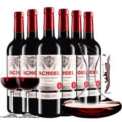 法国原瓶进口红酒柏翠莫埃尔酒堡干红葡萄酒红酒整箱醒酒器装750ml*6