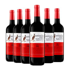 澳洲原酒进口红酒澳奔袋鼠胭脂红赤霞珠干红葡萄酒红酒整箱750ml*6