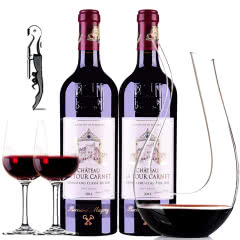 (列级庄·名庄·正牌)法国红酒拉图嘉利酒庄2014干红葡萄酒醒酒器装750m*2