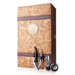红酒包装盒 红酒双支礼盒 拉菲双支暗花复古葡萄酒礼盒 (含酒具 不含酒)
