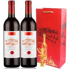 法国原酒进口红酒精选干红半甜红葡萄酒750ml*2支礼袋装