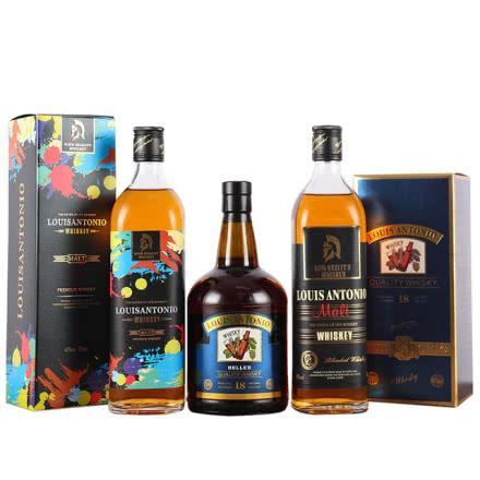40°洋酒 路易安东尼威士忌洋酒700ml礼盒装 三瓶组合套装