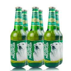 俄罗斯进口精酿啤酒玻璃瓶啤酒 大白熊图案贝里麦德维熊啤酒绿瓶装450ml(6瓶)