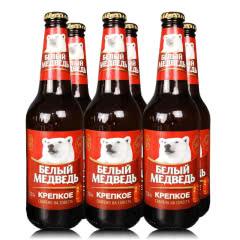 俄罗斯进口啤酒 大白熊图案烈性啤酒贝里麦德维熊精酿啤酒黄啤高度玻璃瓶450ml(6瓶)