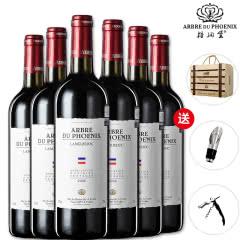 法国梧桐堡 进口红酒福特斯格干红葡萄酒6支整箱装送高级木盒开瓶器酒塞