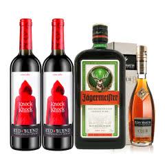 40°人头马CLUB350ml+35°野格利口酒(配制酒)700ml+西班牙小红帽干红葡萄酒750ml*2