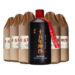 53°煮仙 十五年坤沙酒 酱香型白酒 53度珍藏 固态纯粮老酒 白酒整箱500ml*6瓶