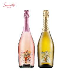 5%vol意大利原瓶进口红酒 起泡酒 甜蜜极冰甜桃红+白起泡酒双支组合装 750ml*2