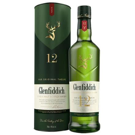 40°Glenfiddich格蘭菲迪12年產單一麥芽蘇格蘭威士忌進口洋酒700ml禮盒裝
