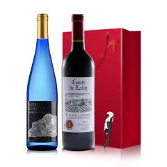 法国原瓶进口红酒 AOP级 拉瑞子爵干红+德国爱丝莉堡甜蜜极冰甜白起泡酒 双支750m*2