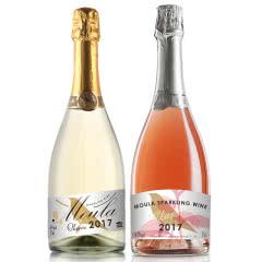 【包邮】慕拉红酒起泡葡萄酒香槟甜型低度果酒草莓味750ml+荔枝味750ml(2支装)