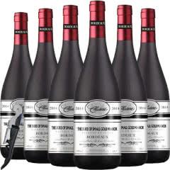 法国(原瓶原装)进口红酒 波尔多AOC级法定产区公爵赤霞珠美乐干红葡萄酒750ml*6