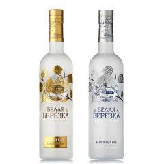 40°俄罗斯原装进口洋酒伏特加金白桦烈性伏特加组合500ml(2瓶)