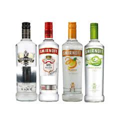 斯米诺(Smirnoff)洋酒烈酒 进口红牌、黑牌、青苹果、香橙伏特加四支装