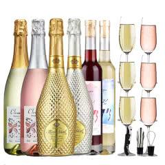 【送6个香槟杯】红酒白起泡酒半甜型气泡酒女士葡萄酒果酒冰酒网红鸡尾酒整箱