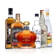洋酒大礼包 进口洋酒 白兰地 威士忌 朗姆酒 伏特加 6支组合