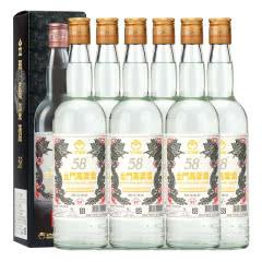 58°金门高粱酒白金龙台湾特产固态发酵纯粮食白酒礼盒600ml(6瓶装)
