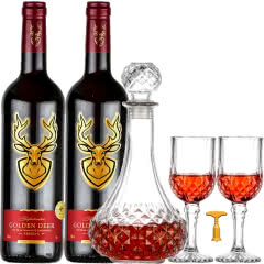 杰佛丹顿金鹿【法国原瓶进口】红酒干红葡萄酒750ml*2支装+醒酒器2个红酒杯1个开瓶器