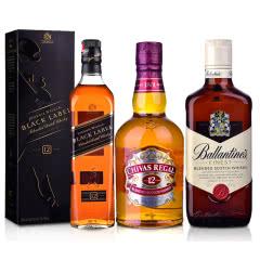 40°英国芝华士12年苏格兰威士忌500ml+40°英国百龄坛特醇苏格兰威士忌500ml+40°英国尊尼获加黑方威士忌700ml
