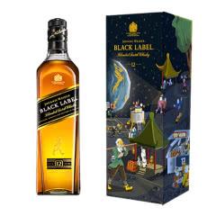 尊尼获加(Johnnie Walker)洋酒 黑方黑牌12年调配型苏格兰威士忌礼盒
