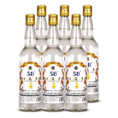 58度台湾高粱酒台湾工艺粮食酒600ml*6瓶装 浓香型家常特价白酒