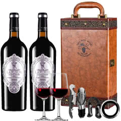 法国进口红酒拉斐天使酒园银标干红葡萄酒750ml*2瓶咖色两支礼盒装