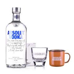 【包邮】40°瑞典绝对伏特加原味500ml+shot杯+搪瓷杯